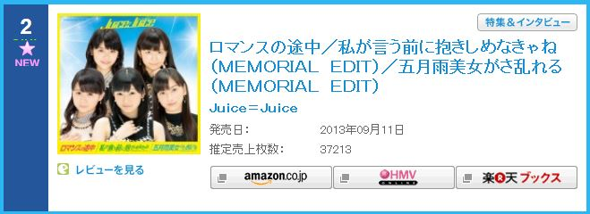 Romance no Tochuu - Oricon First Week